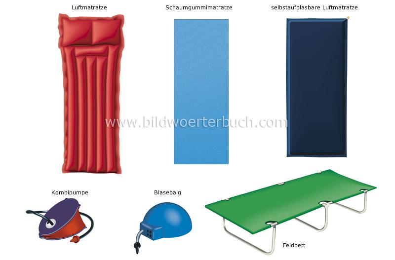 sport und spiele freizeit in der natur camping bett mit matratze bild bildw rterbuch. Black Bedroom Furniture Sets. Home Design Ideas