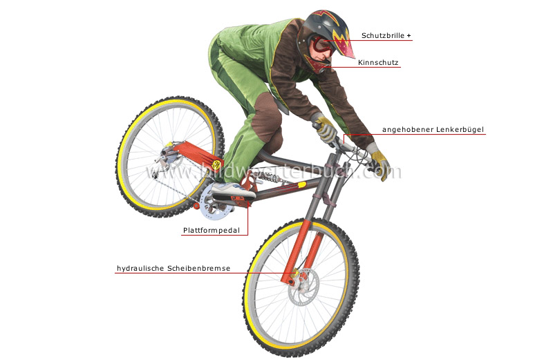downhill bicycle and cyclist image